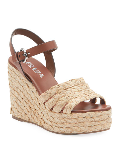 Woven Raffia Platform Sandals