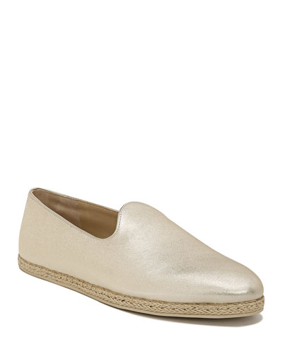 Malia-2 Metallic Leather Flat Espadrille Sneakers