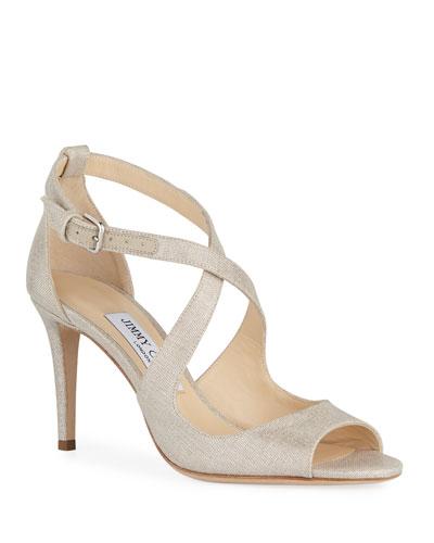Emily Metallic Linen Sandals