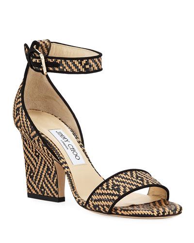 Edina Woven Ankle-Strap Sandals