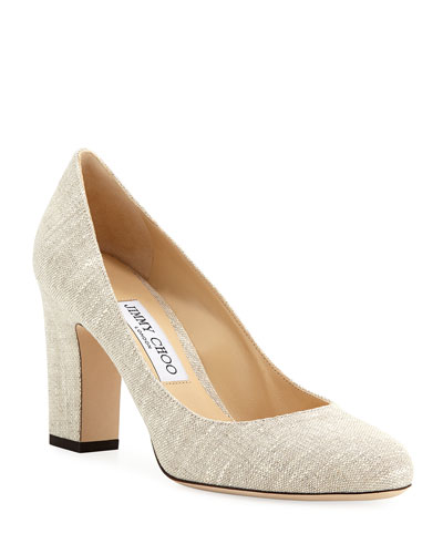 Billie Block-Heel Linen Pumps