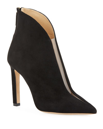 Bowie Plunge Suede Booties