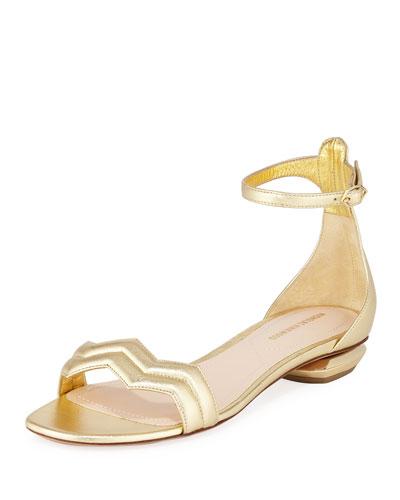 Chevron Metallic Flat Sandals