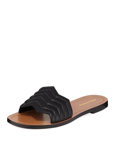 Chevron Flat Slide Sandals  Black