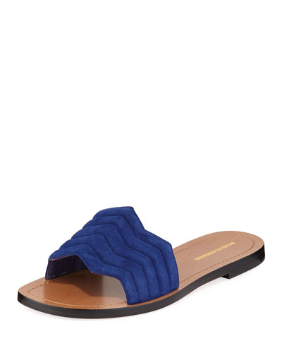 Chevron Flat Slide Sandals  Blue