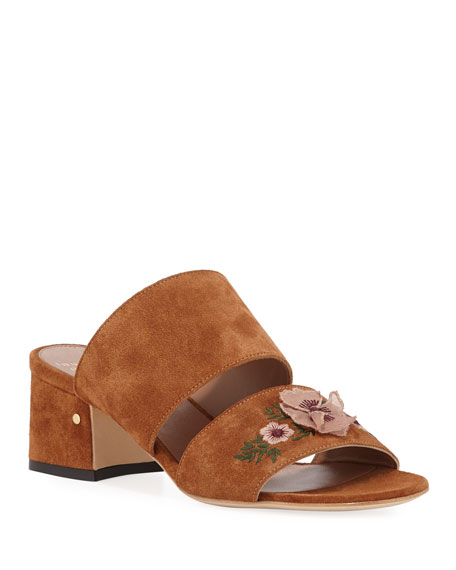 Titina Embroidered Suede Slide Sandals
