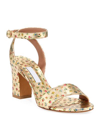 Leticia Floral-Print Metallic Sandals