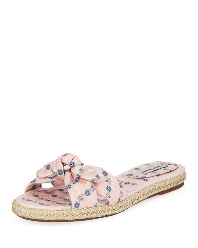 Heli Floral Slide Flat Sandals  Pink