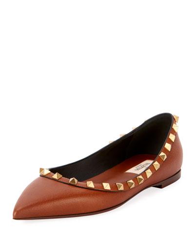 Rockstud Leather Ballet Flats