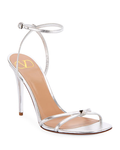 Rockstud Metallic Ankle-Strap Sandals