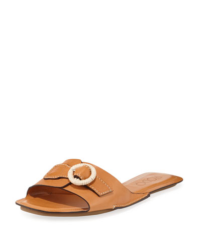 Wicker Buckle Leather Slide Sandals