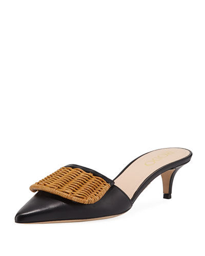 Wicker Flap Kitten-Heel Mules  Black