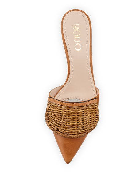 Wicker Flap Kitten Heel Mules