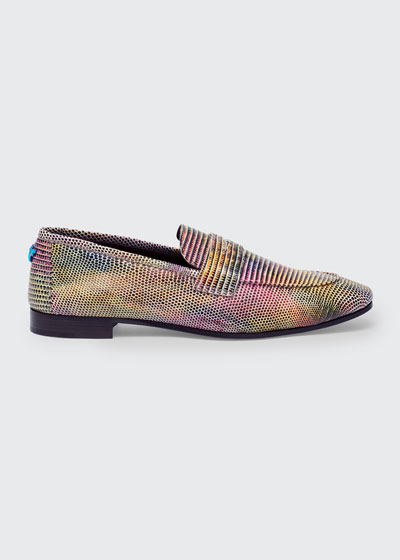 Multicolor Exotic Penny Loafers