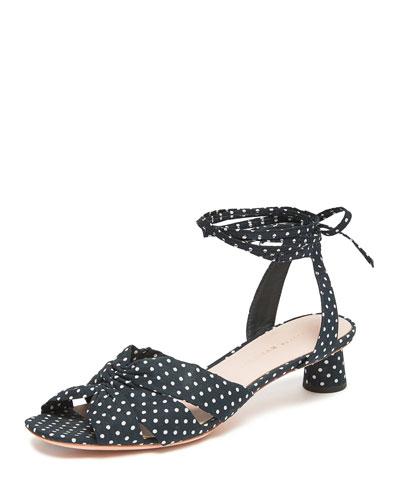 Leia 30mm Polka-Dot Ankle-Wrap Sandals