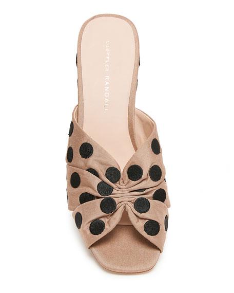 09d2c46b0d Loeffler Randall Sonya 70mm Cinched Polka-Dot Wedge Sandals