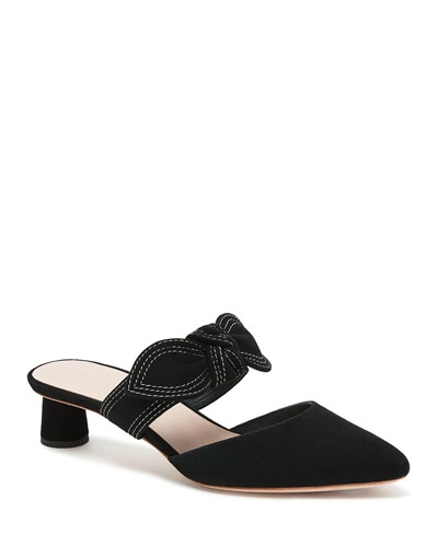 Maira 30mm Suede Bow Mules
