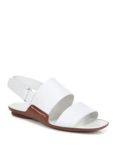 Telsa Flat Leather Slingback Sandals