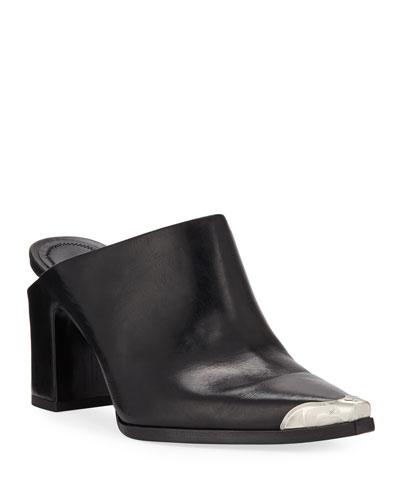 Su Calf Leather Western Mules