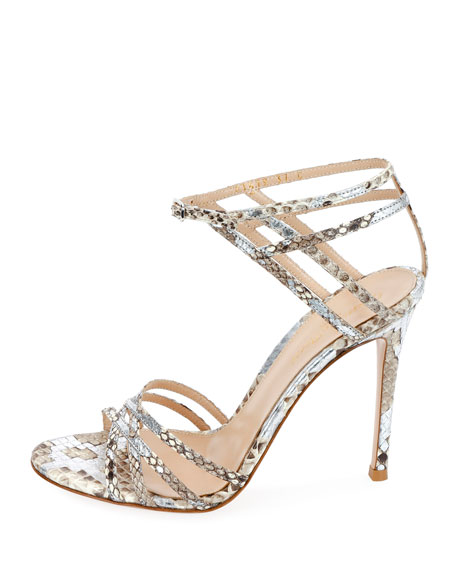 Strappy Metallic Python Sandals