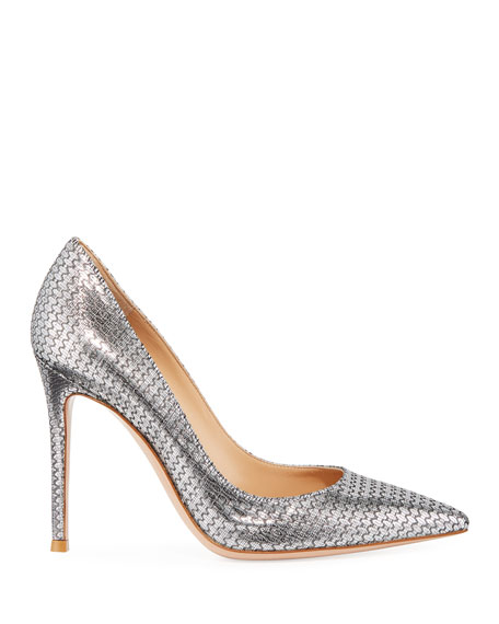 Metallic Woven High-Heel Pumps