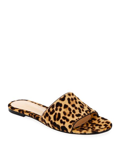 Leopard-Print Calf Hair Slide Sandals