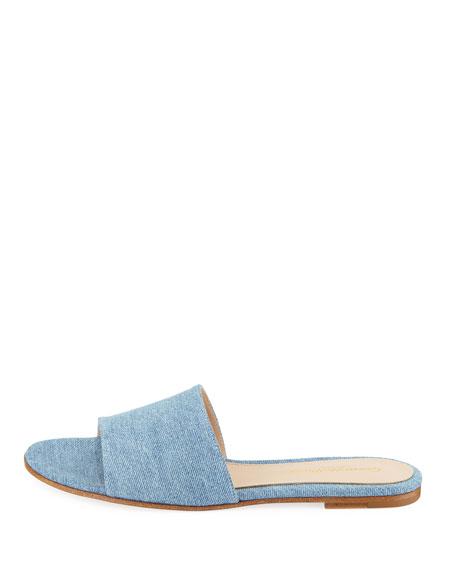 Denim Flat Slide Sandals
