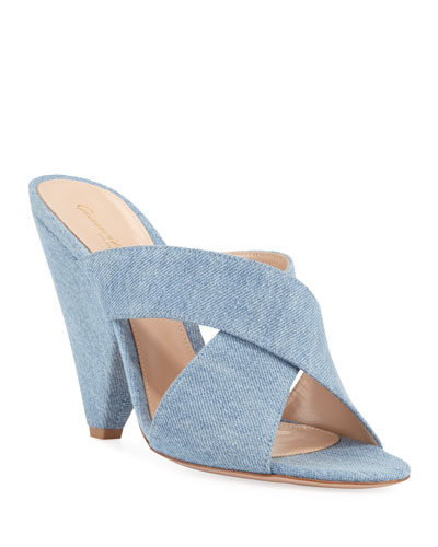 7a58b4c3254ff1 Denim Cone-Heel Slide Mules Quick Look. Gianvito Rossi