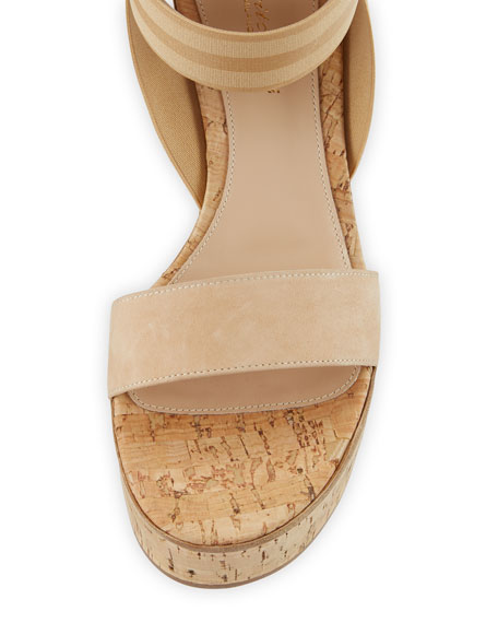Elastic Strap Cork Wedge Sandals
