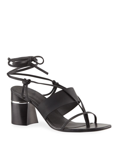 Drum Ankle-Wrap Leather Sandals