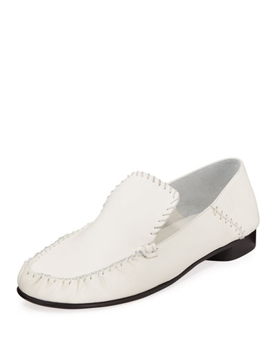 Stitched Leather Moccasin Loafers