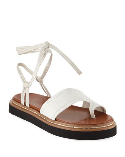 Yasmine Leather Ankle-Wrap Platform Sandals