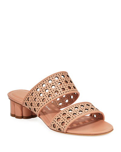 Belluno Laser-Cut Leather Slide Sandals