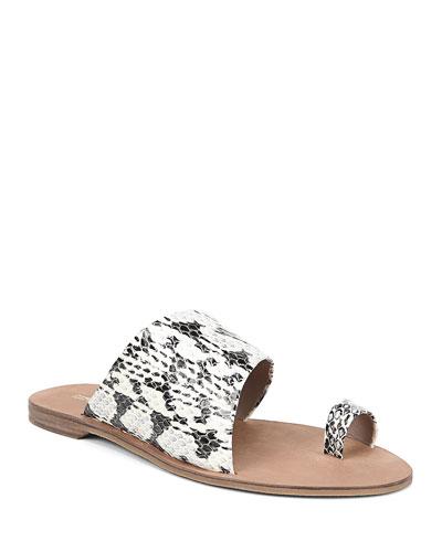 Brittany Snakeskin Slide Sandals