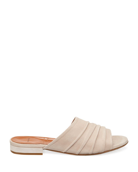 Tiana Ruched Suede Slide Sandals