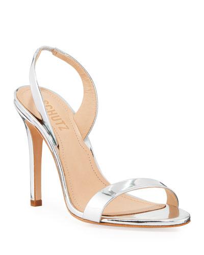 Luriane Metallic Leather Slingback Sandals