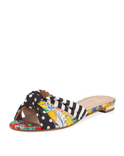 Menorca Polka-Dot Flat Slide Sandals