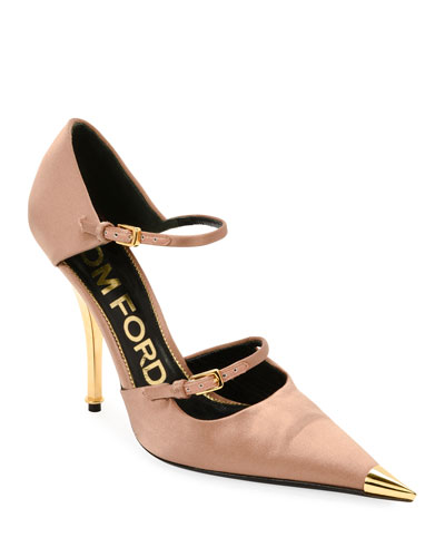 Two-Strap Satin Mary Jane Pumps with Pointed Metal Toe