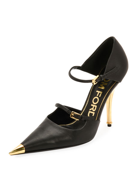 c85129bbf9 TOM FORD Two-Strap Mary Jane Pumps with Pointed Metal Toe