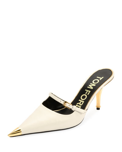 Leather Pointed Cap-Toe Slide Mules