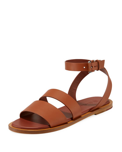 Thirasia Calf Leather Ankle-Wrap Sandals