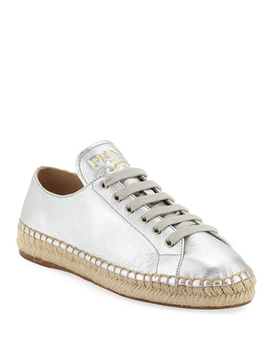 Metallic Leather Espadrille Sneakers
