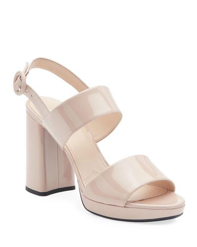 Patent Platform Two-Band Sandals