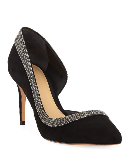 Alexandre Birman Wave Embellished Half-d'Orsay Pumps