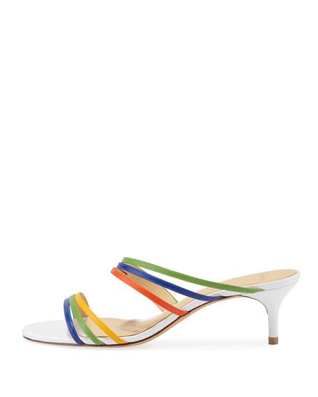 Colorblock Kitten-Heel Slide Sandals
