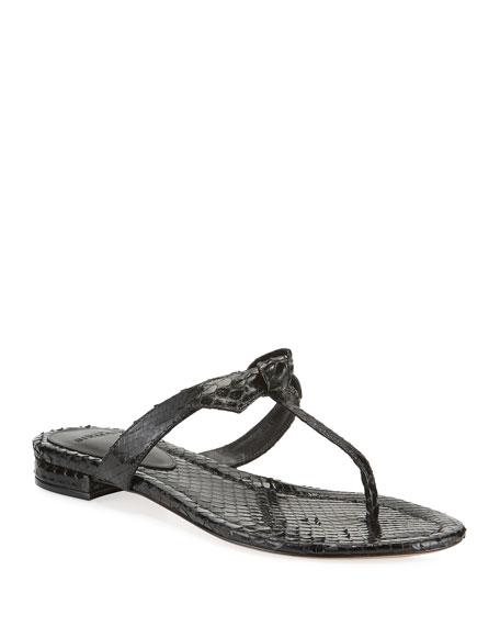 Alexandre Birman Clarita Naked T-Strap Python Sandals