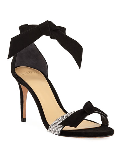 Clarita Embellished Suede Ankle-Tie Sandals