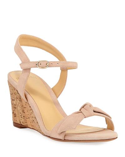 Noelle Cork-Wedge Suede Sandals