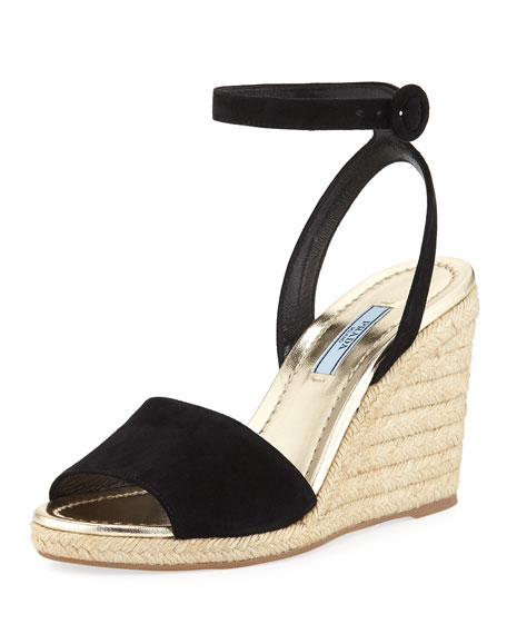 Suede Wedge Espadrille Sandals