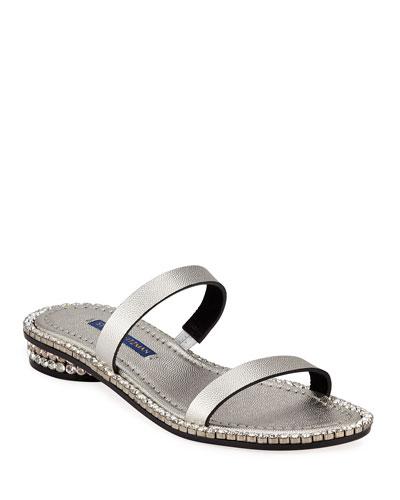Coquina Crystal-Embellished Patent Slide Sandals